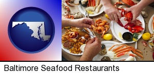 Baltimore, Maryland - eating a seafood dinner