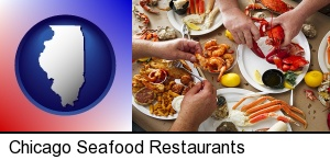 Chicago, Illinois - eating a seafood dinner
