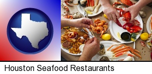 Houston, Texas - eating a seafood dinner