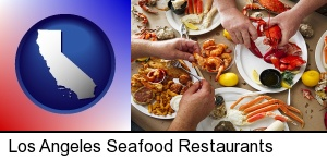 Los Angeles, California - eating a seafood dinner