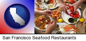 eating a seafood dinner in San Francisco, CA