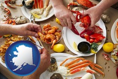 alaska map icon and eating a seafood dinner