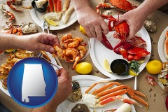 alabama map icon and eating a seafood dinner