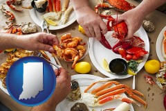 indiana map icon and eating a seafood dinner