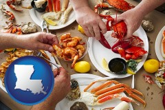 louisiana map icon and eating a seafood dinner