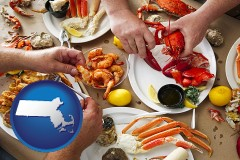 massachusetts map icon and eating a seafood dinner