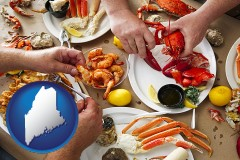 maine map icon and eating a seafood dinner