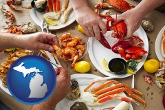 michigan map icon and eating a seafood dinner
