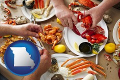 missouri map icon and eating a seafood dinner