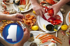 mississippi map icon and eating a seafood dinner