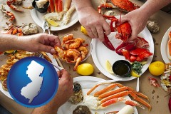 new-jersey map icon and eating a seafood dinner