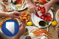 nevada map icon and eating a seafood dinner