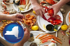 new-york map icon and eating a seafood dinner