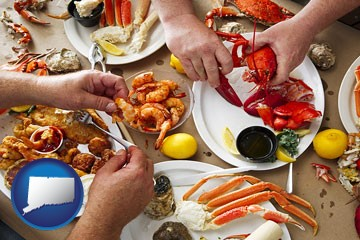 eating a seafood dinner - with Connecticut icon