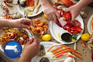 eating a seafood dinner - with Massachusetts icon