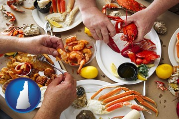 eating a seafood dinner - with New Hampshire icon