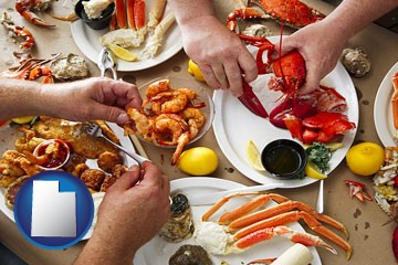 eating a seafood dinner - with Utah icon