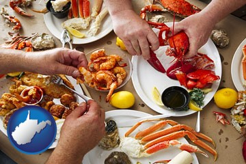 eating a seafood dinner - with West Virginia icon